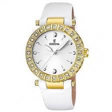 3f8bbd452ac8 Reloj Festina dorado correa cuero blanca