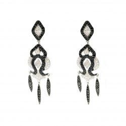 7c1997b6084e Pendientes de plata largos circonita blanca y negra