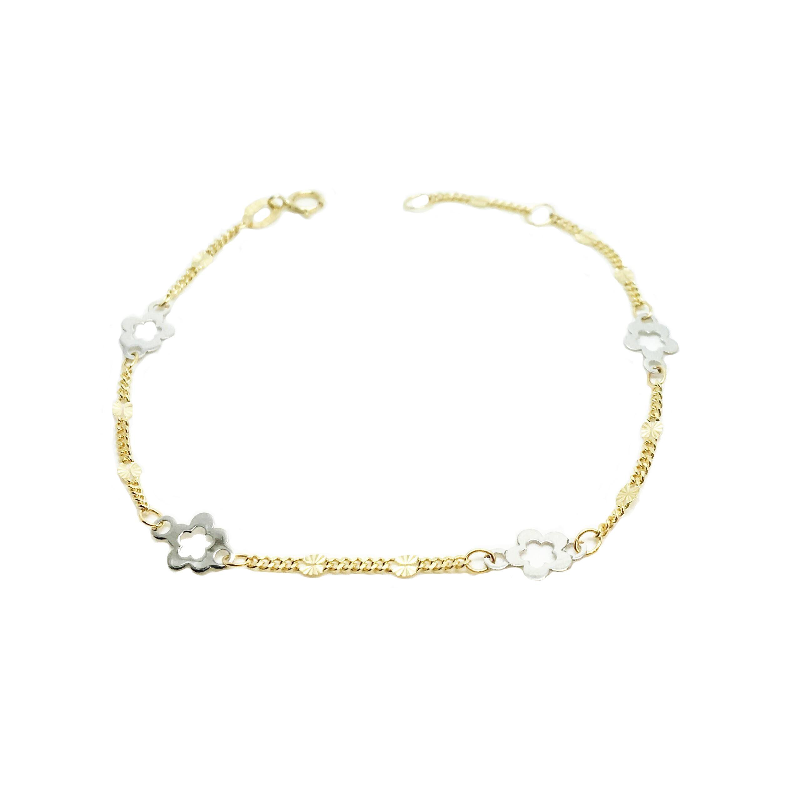 86333708eaed Pulsera de oro para niña oro y oro blanco flores Joyería Juan Luis Laráyoz  Pamplona