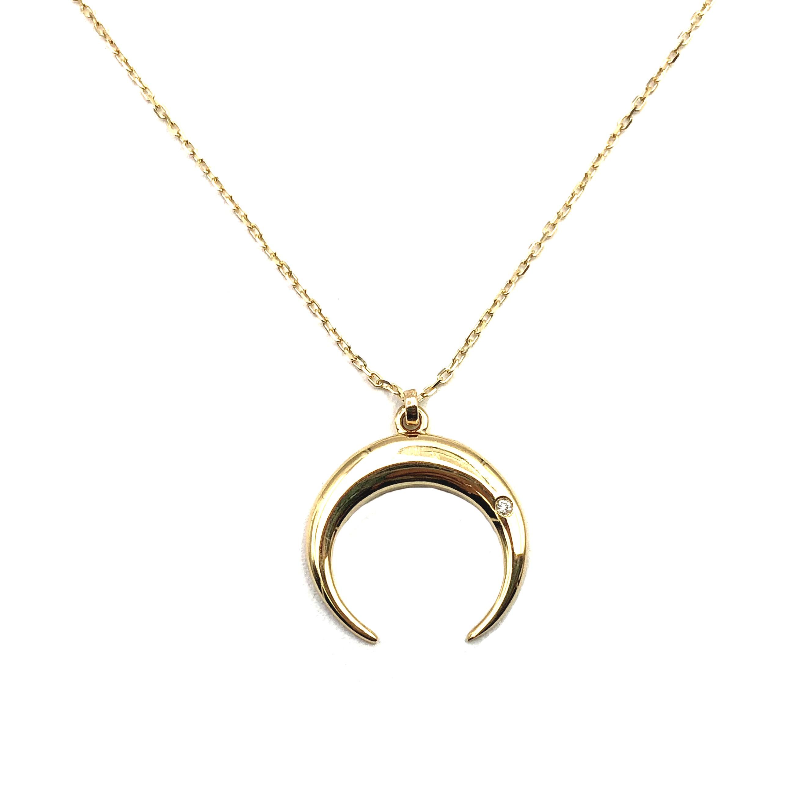 b1efe496d3a8 Gargantilla de oro y diamante media luna colgante media luna joyería juan  luis larráyoz pamplona