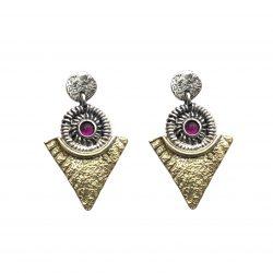 pendeintes de plata y bronce etruscos con rubí joyerñia juan luis larráyoz pamplona