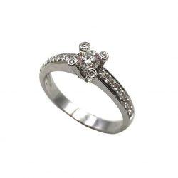 sortija de oro blanco y diamantes solitario joyería juan luis larráyoz pamplona sortijas de compromiso