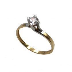 Sortija de oro y oro blanco solitario joyería juan luis larráyoz pamplona sortijas de compromiso