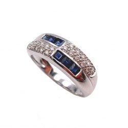 Sortija de oro blanco diamante y zafiro sortijas de compromiso anillo de pedida joyería juan luis larráyoz pamplona