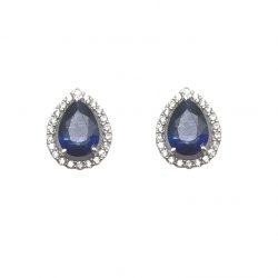 e6a301d69c0a Pendientes de oro blanco y circonitas piedra azul Tear