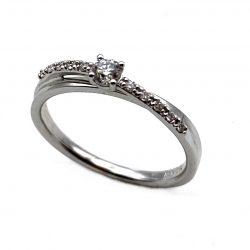 sortija de oro blanco y diamantes cruzada 0,21k sortija decompromiso anillo de pedida joyerías juan luis larráyoz pamplona