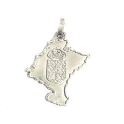 colgante mapa de navarra con escudo en plata joyería juan luis larráyoz pamplona