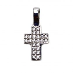 cruz de oro blanco y circonitas joyería juan luis larráyoz pamplona