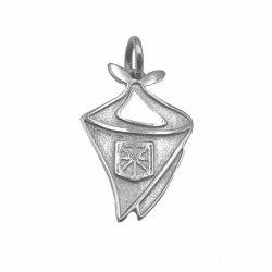colgante de plata pañuelico pañuelo de fiestas con escudo de navarra joyería juan luis larráyoz pamplona
