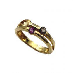 Sortija de oro con circonitas y piedras multicolor joyería juan luis larráyoz pamplona